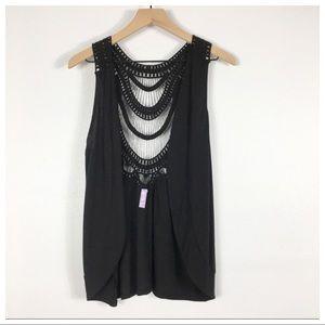 Pacsun Sound & Matter Black Crochet Boho Vest NWT